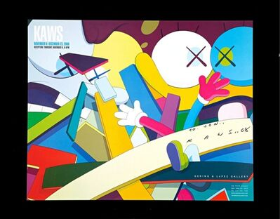 KAWS, 'Rare early poster (hand signed and inscribed)', 2008