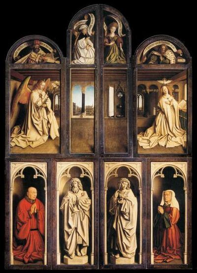 Jan van Eyck, 'Ghent Altarpiece (closed), Annunciation with Donors', 1432