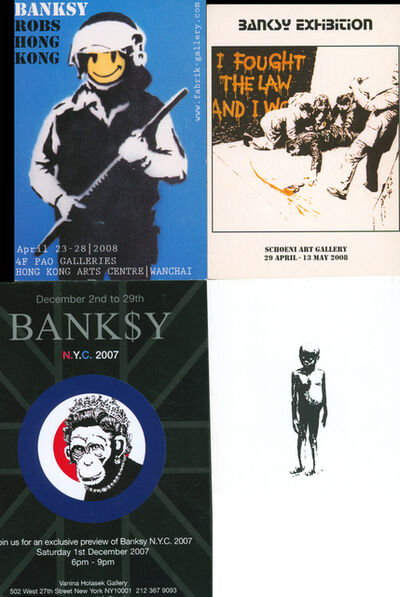 Banksy, 'Banksy announcement cards (set of four 2006-2008)', 2006-2008
