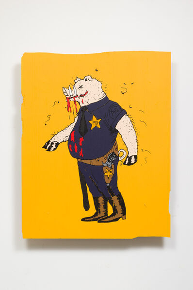 Awol Erizku, 'THIS IS A PIG. HE TRIES TO CONTROL BLACK PEOPLE.', 2017