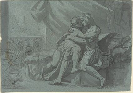 Friedrich Heinrich Füger after Raphael, 'Embracing Lovers in Classical Dress / A Woman in Classical Dress Looking Up', 1785/1790
