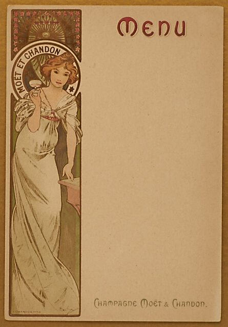 Alphonse Mucha, 'Moët & Chandon Champagne menu card, one of a set of ten images, France', 1899