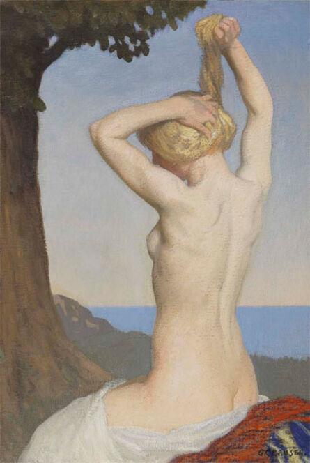 George Clausen, 'Female Nude - Girl Braiding Hair', ca. 1917