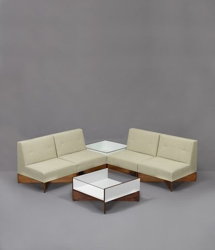 Pierre Guariche, 'Set of 4 armchairs CA21 Capitole, 1 flower display case and 1 coffee table', 1960