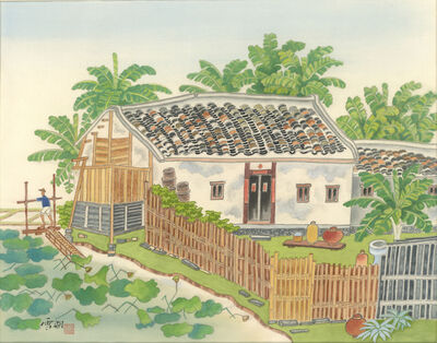 Kuo Hsueh-Hu 郭雪湖, 'The Cleaning Sound of the Waterwheel', 1990