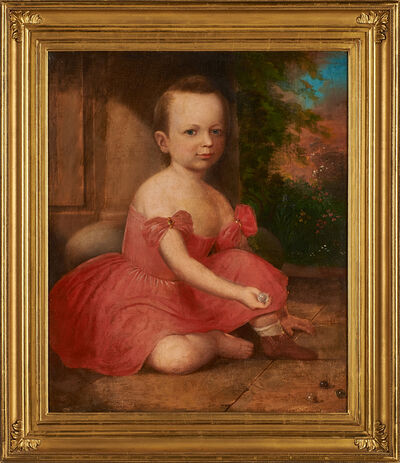 Attributed to Robert Street, 'Untitled (portrait of a young boy playing marbles)'