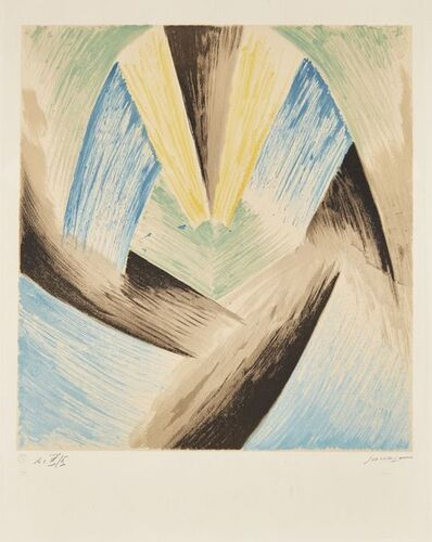Leopold Survage, 'Coloured Rhythms II (Blue-Green)', 1968