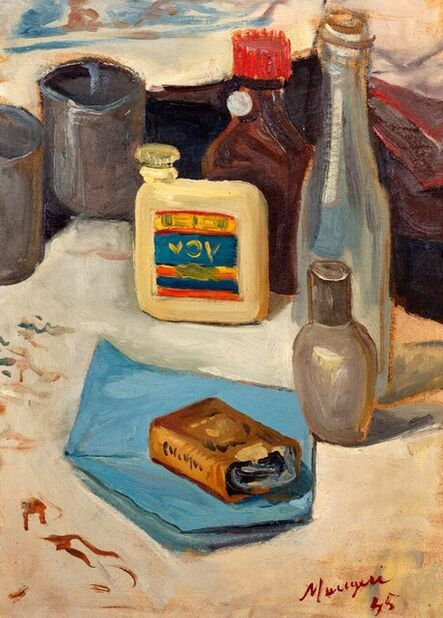 Concetto Maugeri, 'Still life with Vov bottle', 1945