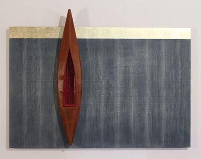 David Ruddell, 'Blackboard, Gold Strip, Boat with Red Interior', 2015