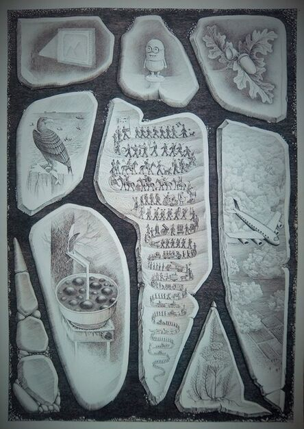 Ivan Yazykov, 'Rebus#24. I'm a Gemini on a corner near my planetary arrow. Image, minion, acorn, erne, army, plane, tar, yarrow. ', 2017