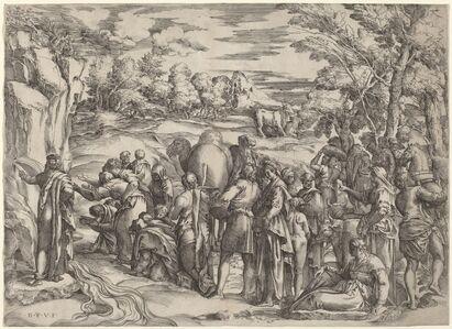 Battista Franco, 'Moses Striking the Rock'