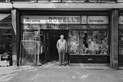 Mike Seaborne (British, born 1954), 'Rowell's stationers shop and post office, Castalia Square shopping precinct, London', 1984-printed 2020