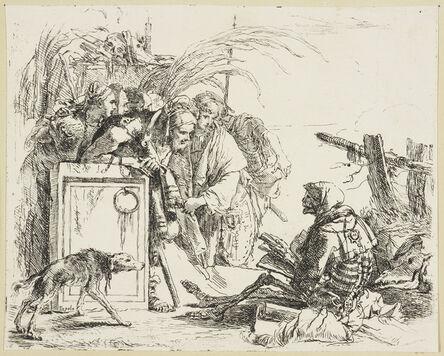 Giambattista Tiepolo, 'A group of figures discovering a skeleton reading', ca. 1740