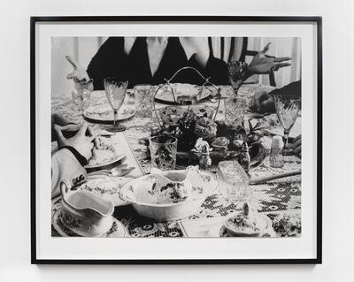 John Baldessari, 'Hand & Feet: Hands, Dinner Table & Person', 2017