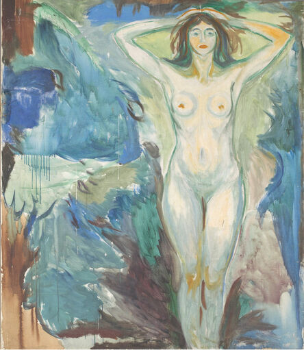 Edvard Munch, 'Standing Nude Against Blue Background', 1925-1930