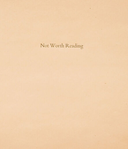 Matthew Higgs, 'Not worth reading', 2009