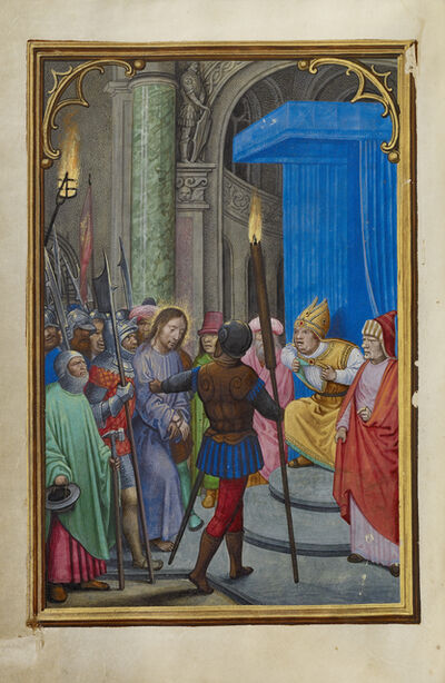 Simon Bening, 'Christ before Caiaphas', 1525-1530