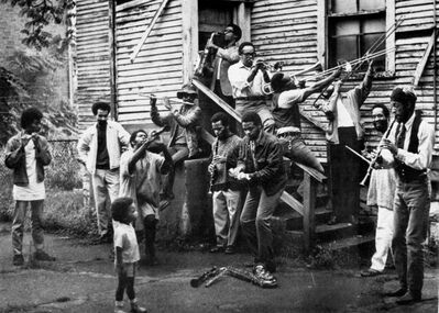 Wadsworth Jarrell, 'New Orleans-style group photo in painter Wadsworth Jarrell's backyard', ca. 1968
