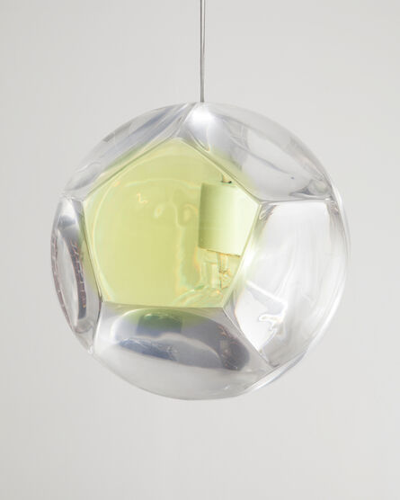 """Christian Wassmann, 'Large """"Dodecahedron"""" Chandelier and Optical Instrument with One Yellow Lens', 2014"""