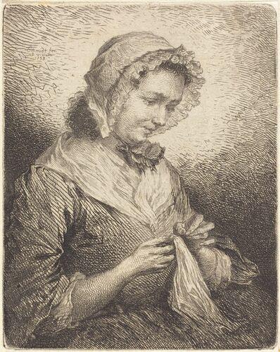 Georg Friedrich Schmidt, 'The Artist's Wife Sewing', 1753