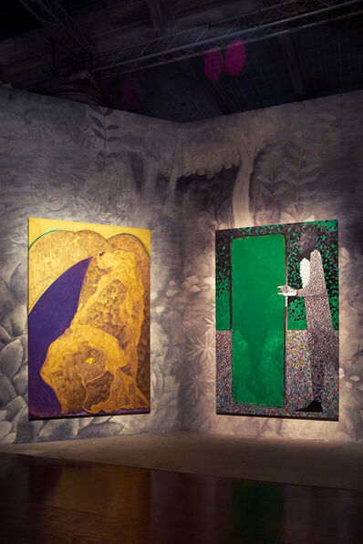 """Chris Ofili, '""""Bending Over Backwards for Justice and Peace"""" and """"The Greeen Mirror"""" (Installation view)', 2015"""