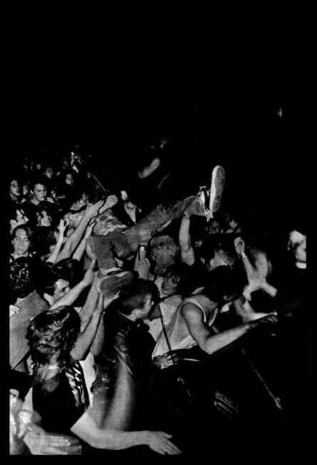 Alice Wheeler, 'KURT COBAIN AT MOTORSPORTS GARAGE, SEATTLE, SEPT 22, 1990 (Kurt's stage dive)', 1990