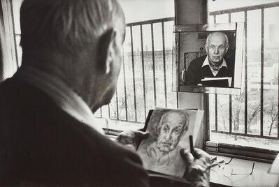 Martine Franck, 'Henri Cartier-Bresson drawing a self-portrait in his studio', 1992