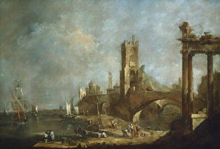 Francesco Guardi, 'Capriccio of a Harbor', ca. 1760/1770