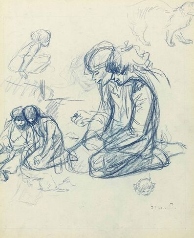 Théophile Alexandre Steinlen, 'Children playing games, with a subsidiary study of a cat (recto), A seated young boy with subsidiary figure studies (verso)'