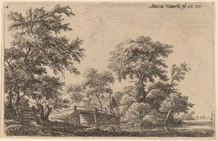 Anthonie Waterloo, 'Planks Attached to Four Trees'