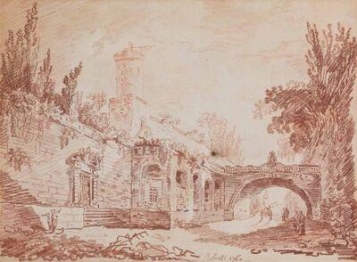 Hubert Robert, 'Figures on a road beside a walled village, a cart beyond the bridge', 1760