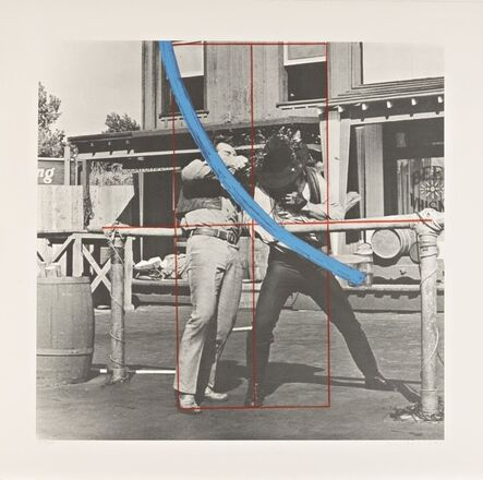 John Baldessari, 'Blue Masterstroke over Red Diagram with Two Cowboys', 1989