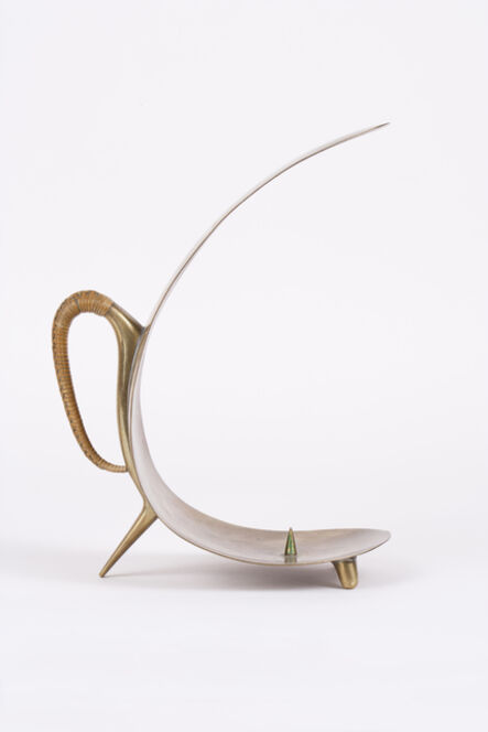 Carl Auböck, 'Brass Candlestick with Wicker Handle', 1950s