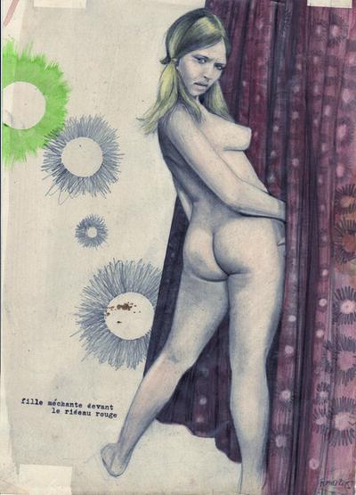 Franz Burkhardt, 'Böses Mädchen vor rotem Vorhang', 2015