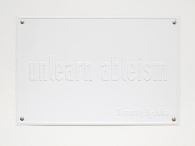 Julia Scher, 'unlearn ableism (The Ecology of Visibility)', 2020