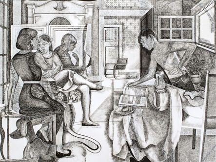 Jeremy Long, 'Large working drawing for Family Group with Still Life', 2019-2020