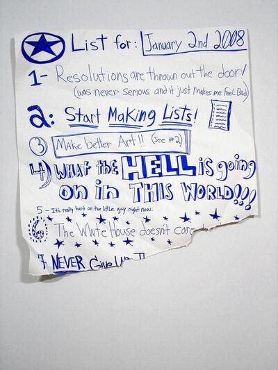 Michael Scoggins, 'List of January 2nd', 2008