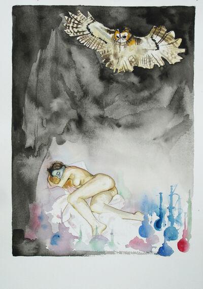 Troels Carlsen, 'Sleeping Nude and Owl #2', 2015