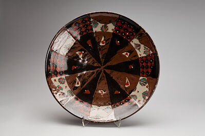 Tomoo Hamada, 'Plate, black and kaki glaze with akae decoration', 2013