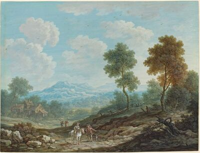 Johann Christoph Dietzsch, 'Travelers in a Broad Valley', ca. 1750