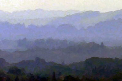Larry Garmezy, 'Tuscan Morning - Impressionist landscape photography, Tuscany, Sienna, Italy, dawn with trees and hills in greens, purple and blue hues', 2014