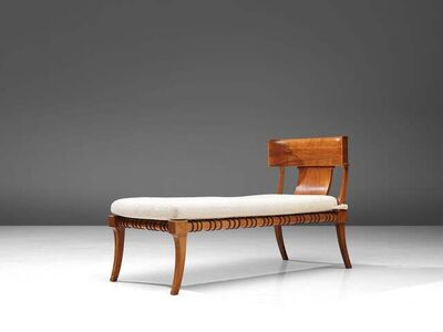 T.H. Robsjohn-Gibbings, 'T. H. Robsjohn-Gibbings Restored 'Klini' Chaise Lounge in Walnut and Leather', 1961