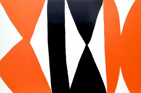 Kim MacConnel, 'Enamel Panel #3 (white, orange, black)', 2004