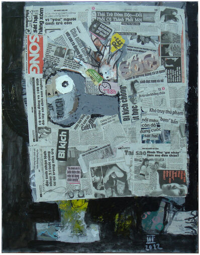 Nguyen Cong Cu, ''Reading Newspaper I' Mixed Media, Abstract Portrait', 2012