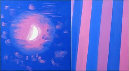 Ann Craven, 'Diptych (Moon, Stripe, Speckled Pink Light), 2015', 2015