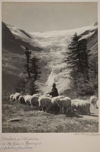 "Albert Steiner, '""Schafhirte am Palugletscher bei Alp Grum am Berninapass. -Graubunden. Schweiz . -""  (Shepherd on the Paluglacier at Alp Grum am Bernina Pass. -Graubunden. Switzerland. -)', 1925-1950"