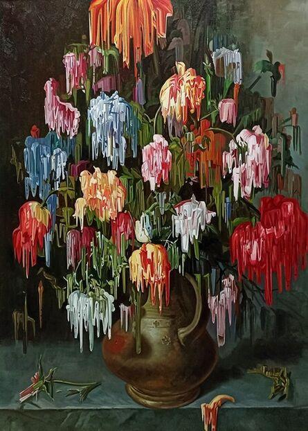Alexis Mata, 'Tulipanes y Rosas sobre Jarrón Color Oro', 2021