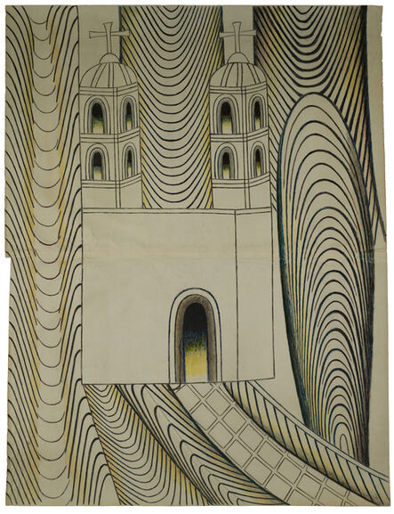 Martín Ramírez, 'Untitled (Church with Arches and Tunnels)', 1950-1955