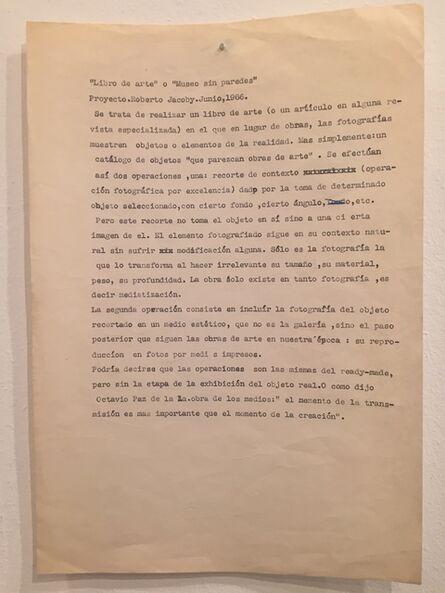 """Roberto Jacoby, '""""Libro de Arte"""" o """"Museu sin parede""""', 1966"""