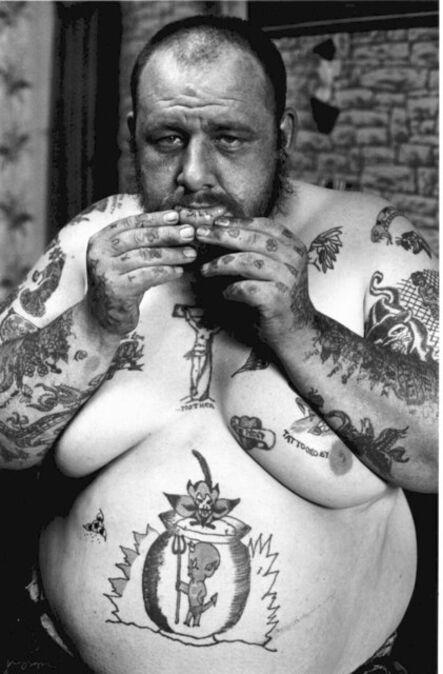 John 'Hoppy' Hopkins, ''Read My Lips', Tattoo Bill in his Tattoo Parlour, Portobello Road, London', ca. 1964